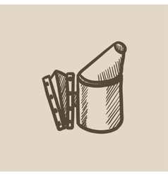 Bee hive smoker sketch icon vector