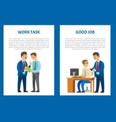 Boss work task praise for good job company leader vector