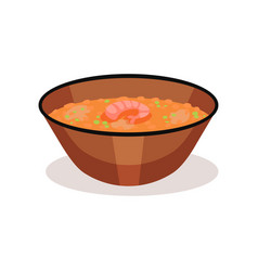 bowl of curry soup with shrimp delicious asian vector image