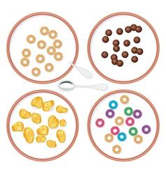 breakfast wholegrain cereal in milk vector image