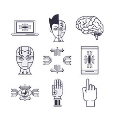 bundle artificial intelligence icons vector image