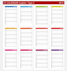 Calendar 2014 English Type 5 vector