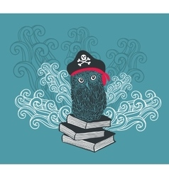 Captain owl with adventure books vector image