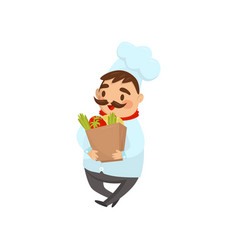 chef of restaurant walking with paper bag full of vector image