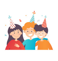 Children in striped party hats vector