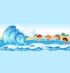 children playing in the sea vector image