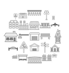 city architecture icons set outline style vector image