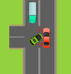 Clash of cars on t-junction flat diagram vector