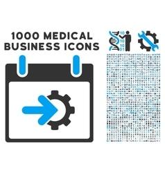 Cog Integration Calendar Day Icon With 1000 vector