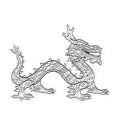 Coloring japanese dragon for adults vector
