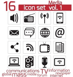 Communication and media icon vector