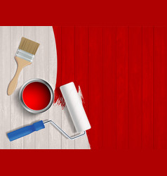 construction tool with paint on a wooden table vector image