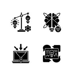 creative thinking black glyph icons set on white vector image