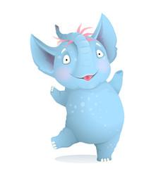 Dancing cute baby elephant cartoon for kids vector