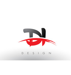 Di d i brush logo letters with red and black vector