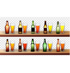 Different bottles and glasses with beer set vector