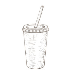 Disposable cup with drinking straw hand drawn vector