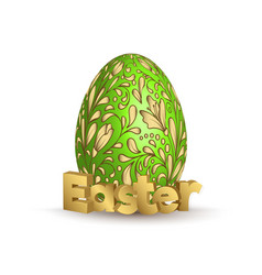 Easter egg icon egg with hand draw golden vector