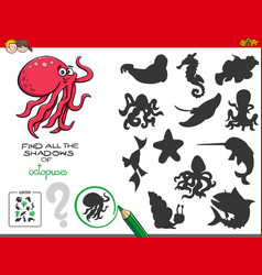 Educational shadows game with octopuses vector