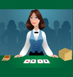 female croupier in a casino vector image