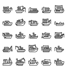 fishing boat icons set outline style vector image
