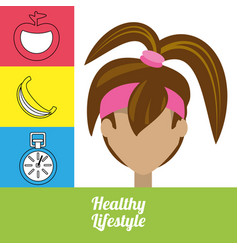 fitness woman with fruits chronometer and vector image