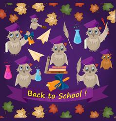 Flat -1 on school theme bird owl holding various vector