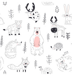 forest animal seamless pattern woodland childish vector image
