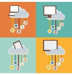 Gadgets clouds mobile apps design vector