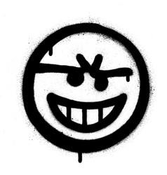Graffiti naughty emoticon sprayed in black vector