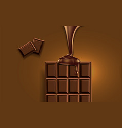 half of the chocolate bar and a jet of liquid vector image