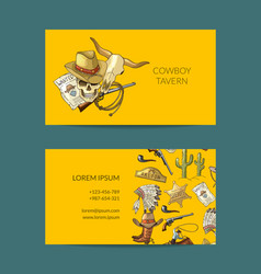 hand drawn cowboy business card vector image