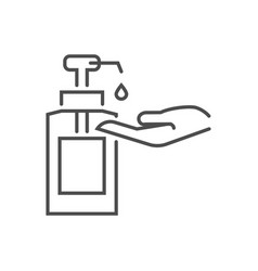 Hand sanitizer related thin line icon vector