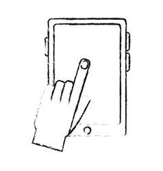 Hand tapping modern cellphone with blank screen vector