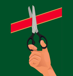 hand with the scissors cut the red ribbon vector image