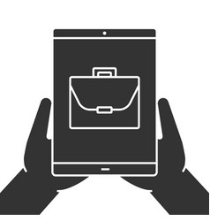 hands holding tablet computer glyph icon vector image