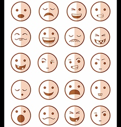 Icons set 20 emotional smiles red vector
