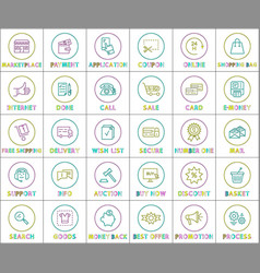 internet web linear outline bright round icons set vector image