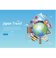 japan famous landmarks travel background vector image