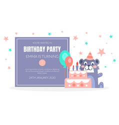 kids birthday party invitation card template vector image