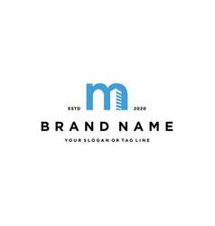 Letter m build logo icon design vector