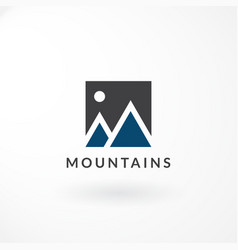 logo design with combination moon and mountain vector image