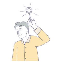 Man having idea or answer decision making cogwheel vector