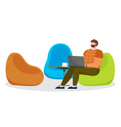 Man sit on puff and work on laptop cozy workplace vector