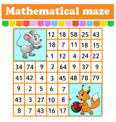 mathematical rectangle maze mouse and squirrel vector image