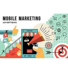 Mobile marketing and advertising concept line art vector