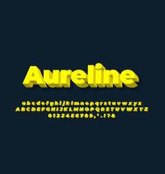 Modern alphabet 3d clean yellow text effect vector