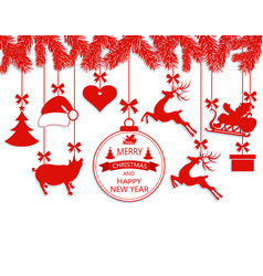 New year christmas various decorations hanging on vector