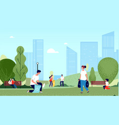 People collecting garbage in city park volunteers vector