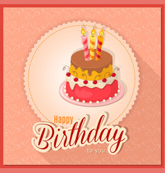 pink vintage birthday card with cake tier on vector image
